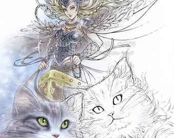 Digital Stamp Instant Download - Freya as the Queen of the Valkyries with Her Cats - Fantasy Line Art for Cards & Crafts by Mitzi Sato-Wiuff