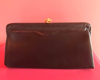 1970's Vintage Little Black Evening Bag Clutch
