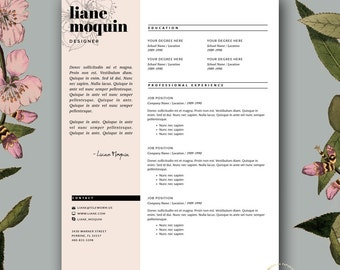 Merveilleux Professional Resume Template And Cover Letter Template For MS Word | 3 Page  Feminine Resume Template