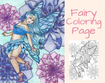 Adult Coloring Book Pages- Coloring Book- Fairy Coloring Page-Fantasy Coloring Page- Printable- Instant Download
