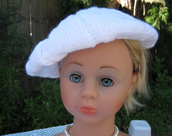 Handmade Knitted White Beret for Girl aged around 8-12 years in Hayfield Pretty Whites 8 ply