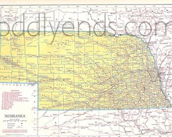 Vintage Nebraska Map, 1945 Original Atlas Antique, Omaha, Lincoln