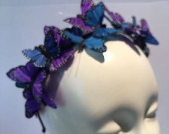 Butterfly Headpiece- Butterfly Crown - Derby Hat- Butterfly Headdress- Derby-Monarch headpice -purple Fascinator- Butterfly costume
