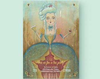Printable Marie Antoinette High Tea Party invitation, high tea party invitation