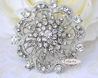 Rhinestone Brooch Components - Flat Back Rhinestone Embellishments - Rhinestone Jewelry - Wedding - Brooch Bouquet Supplies RD74