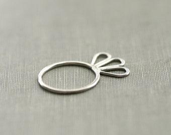 Flower Petal Sterling Silver Ring - Size 7
