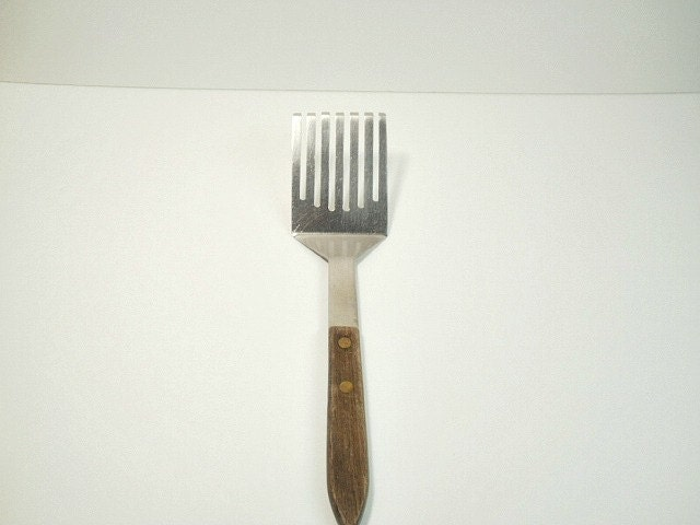 Vintage Stainless Slotted Spatula Turner Flipper Kitchen