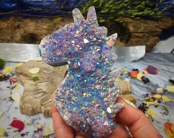 AmethystAura Amethyst Geode Cluster, Aura Quartz Cluster Aura Crystal, Unicorn Head Crystals Rocks and Minerals,  Titanium Amethyst Aura