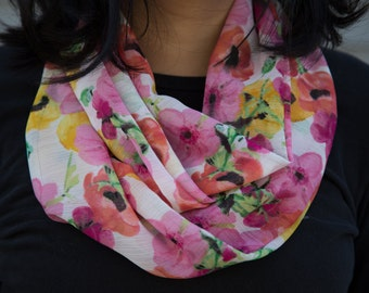 Sheer white with pink, red, and yellow floral pattern infinity scarf (cowl)