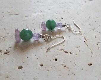 Natural Amethyst and Green Aventurine Earrings, Genuine Stone Earrings, February Birthstone, Healing Crystals, Green Purple Gemstone, Unique
