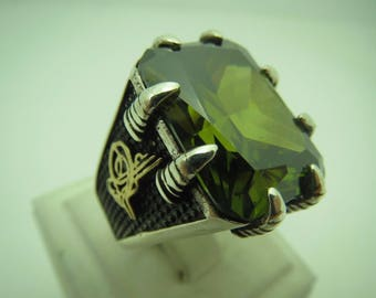 Men peridot ring Etsy