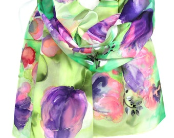 Tulips Hand Painted Silk Scarf. Birthday Gift. Green Purple Floral Shawl Wearable Art. Silk Painting Elegant Cute Scarf. 18x71in MADEtoORDER
