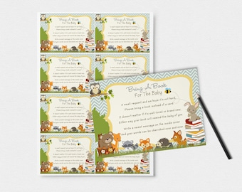 Chevron Bring A Book Insert Woodland Themed--3x2 Inches-- / Instant Download /--Woodland--Animals //Party CFTBS