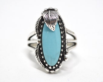 Vintage Southwest Designer Carol Felley Turquoise Sterling Silver Feather Ring - Native American - Size 8.75 - 602885739