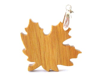 Autumn Leaf Necklace Maple Leaf Jewelry Wooden Leaf Pendant