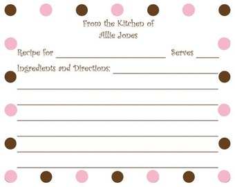 Pink and Brown Polka Dot Personalized Recipe Card