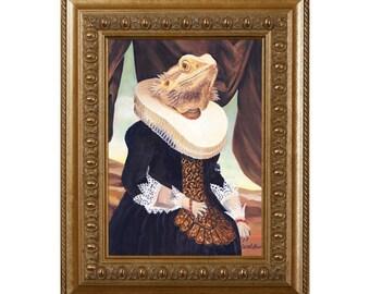 Bearded Dragon, Magnet, Mrs. Spike, Bearded Dragon Gifts, Lizard, Reptile Theme Art