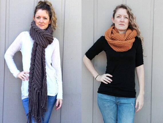 2 Crochet Patterns: Infinity Scarf cowl super bulky chunky