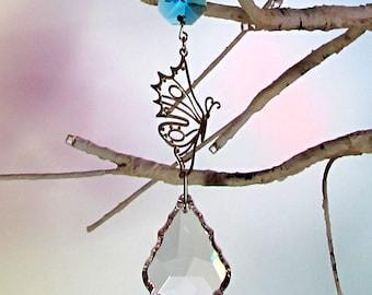 Prism Suncatcher, Christmas Ornament, Aqua Crystal, Butterfly, 1S-56