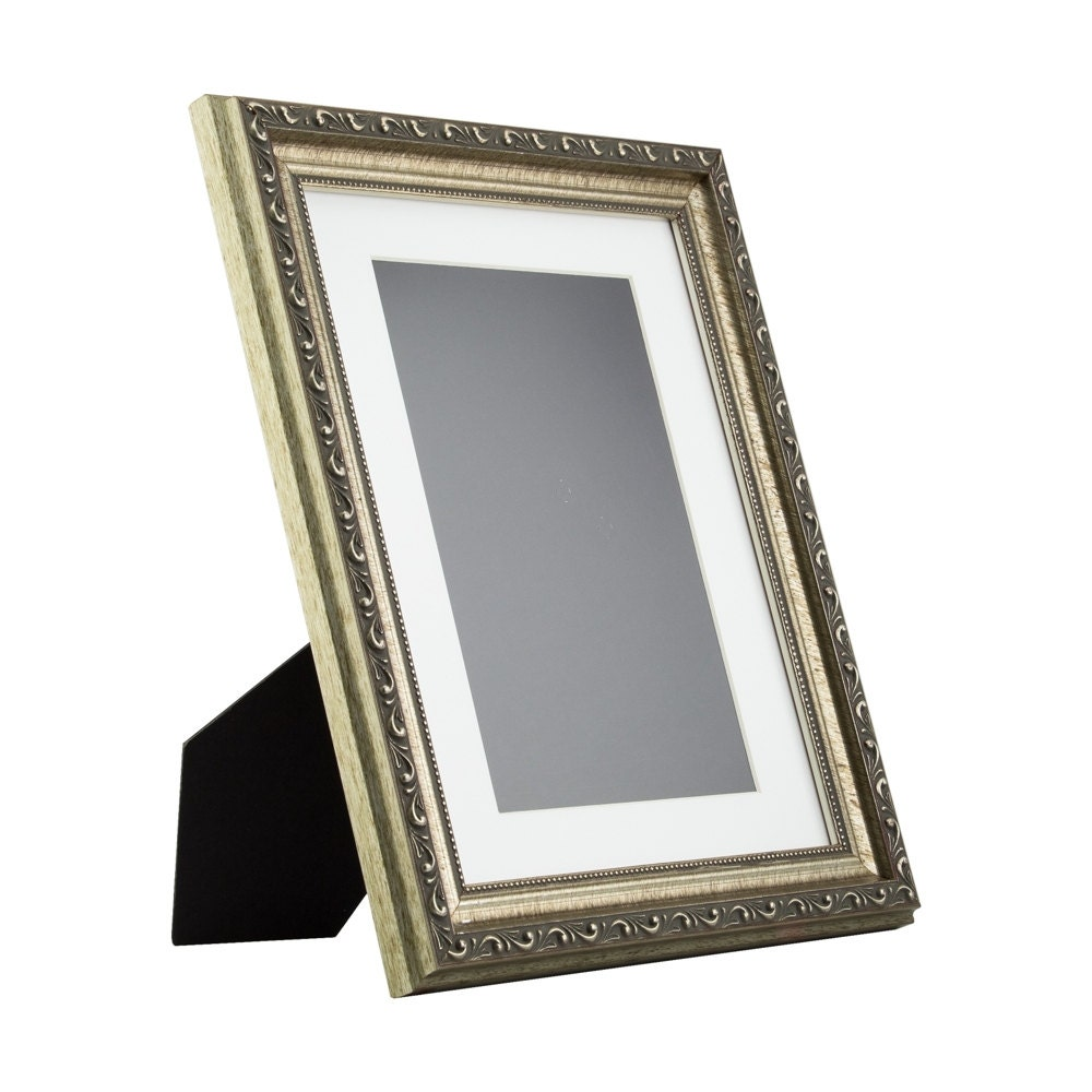 Craig Frames, 8.5x11 Inch Antique Silver Picture Frame, Mat with 6x9 ...