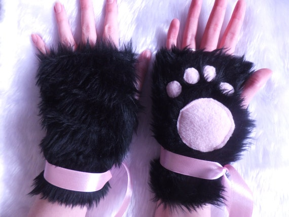 & Cute Black u0026 Pink Furry Cosplay Cat Kitty Neko Paw Fingerless