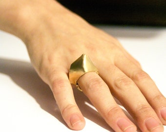 Geometric ring, Structure ring, High ring for women, Golden ring for women, Modern golden ring, Modern ring, Chic ring, gift for her