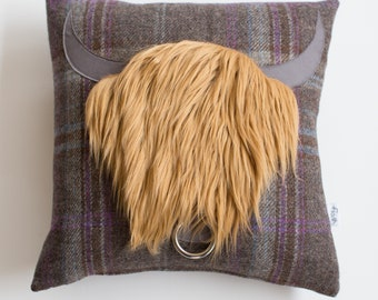 Hamish Highland Cow Cushion with Luxurious Faux Fur