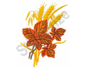 Leaves And Wheat - Machine Embroidery Design, Leaves, Wheat