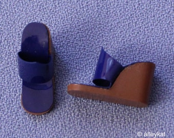 Vintage Barbie Blue and Brown Wedge Shoes, Mint