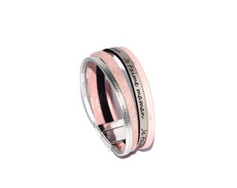 """""""DIY kit"""" leather cuff bracelet """"I love you MOM"""" silver and light pink (special mothers day)"""