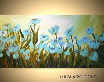 Original Modern 72x36 Abstract Palette Knife Flowers Oil Painting BLUE TULIPS by Luiza Vizoli