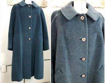 Vintage 1960s Teal Alpaca Wool Coat, Alpacama Coat