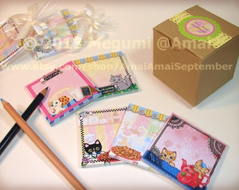 """Set of 5 designs - 3x3"""" Kitties & Chocolate Chip Cookies Sticky Note Pad. cat kitten bakery baking tea time sweets art picture stickie memo"""