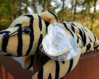 Vintage - Ty Beanie Baby - STRIPES the black and tan tiger, Retired