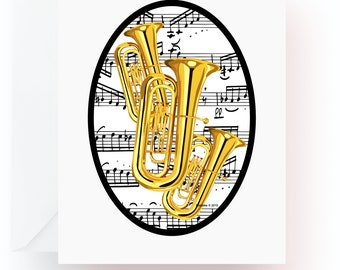 Tuba Note Cards, Music Note Cards, Stationery, Note Cards, Blank Cards, Music Teacher Gift, Music