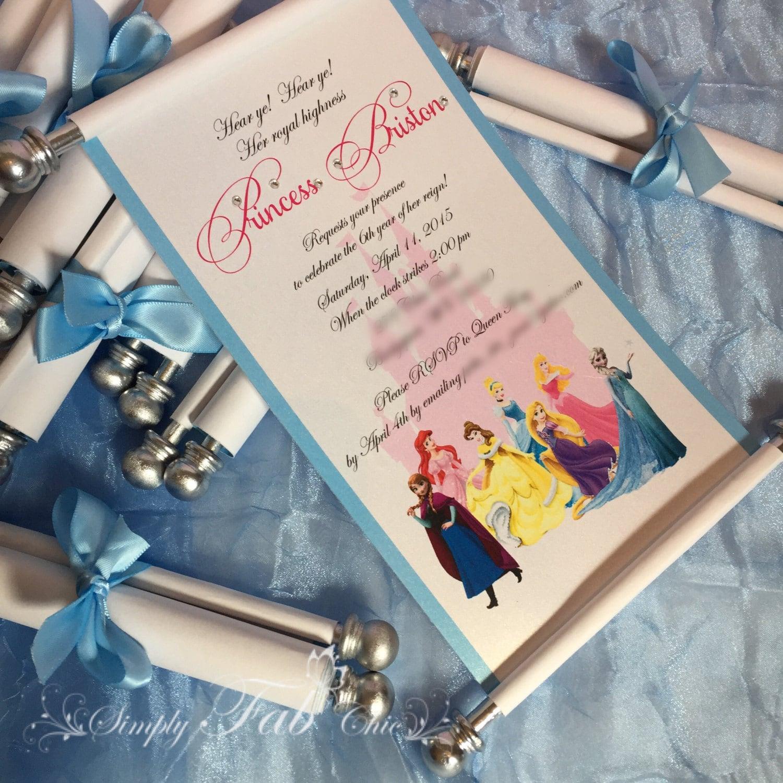 Disney princess scroll invitation birthday invitation handmade zoom filmwisefo