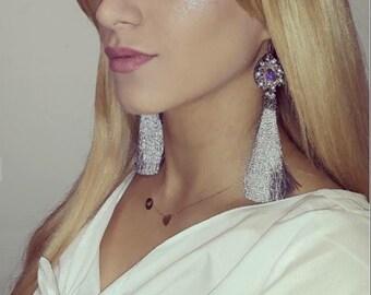 Earring, Grey Earrings, Long Tassel, Luxury Tassel Earrings, Women Earrings