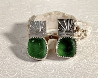 Emerald Green Silver Stamped Post Earrings