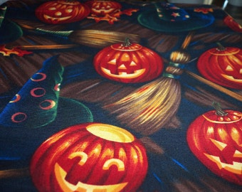 Witches Hat & Broom Fabric Halloween  Ghostly Pumpkins Very Scary Perfect Trick Or Treat New BTFQ