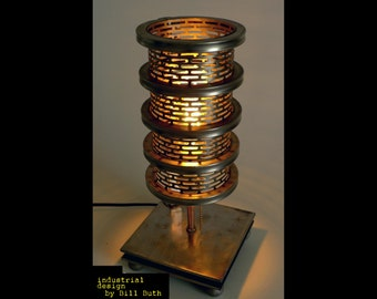 Industrial Handmade 'Starr' Steampunk Table Lamp Modern Design Machine Cosplay Edison Bulb Made in USA, FREE SHIPPING