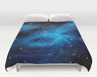 Blue Galaxy Duvet Cover King Size Bed cover King Duvet Queen Duvet Full Duvet Twin Duvet Nebula Duvet Stars Duvet cover Blue Nebula 88x88