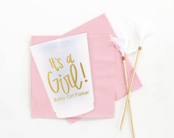Personalized Baby Shower Cups Custom It's a Girl Plastic Cups Girl Baby Shower Decorations Baby Girl Shower Ideas Gold Baby Shower Supplies