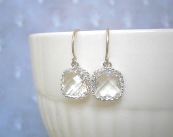Clear Crystal Earrings, Petite Earrings, Silver Earrings, Simple, Everyday Jewelry, April Birthstone