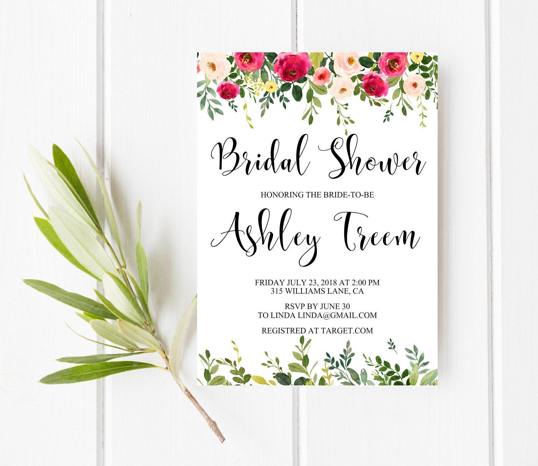 Pink bridal shower invitation Garden bridal shower