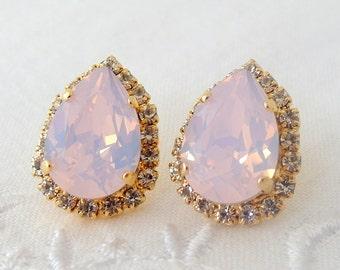 Pink opal crystal teardrop stud earrings, Bridal earrings, Bridesmaids jewelry, Blush Pink earrings, powdered pink earrings, Gold or silver