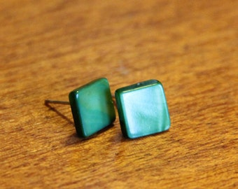 Square earring studs // mother of pearl // fern green // forrest green // vintage buttons // eco gifts