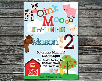 Farm Animal Birthday Invitation