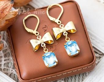 DIY Earrings Kit Pendants Jewellery Making Kit Includes Goldplated Bows, Aquamarine Blue Swarovski Rhinestone Drops and Earrings Components