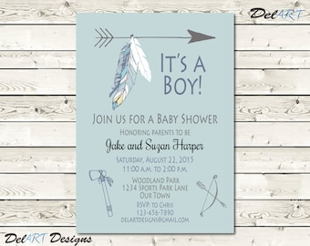 Boho Baby Shower Invitation, Boho Baby shower save the date, For Boy, Tribal Feather Printable Digital File, JPG or PDF 4 x 6 or 5 x 7 inch