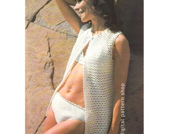 Bikini Crochet Pattern, Beach Cover Up Retro Bathing Suit, Beach Top Womens Swimsuit Crochet Pattern Instant Download PDF - C72